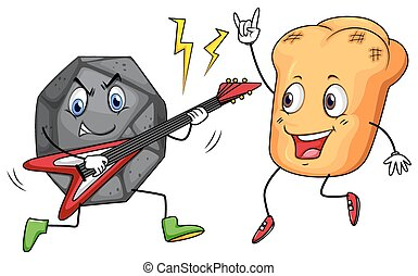 Rock and roll playing music illustration