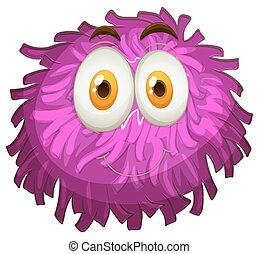 Purple pom-pom with happy face illustration