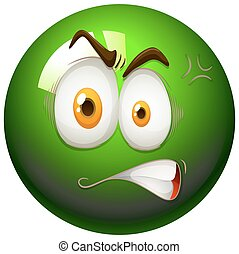 Angry face on snooker ball illustration