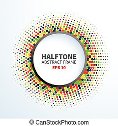 Abstract colorful halftone frame