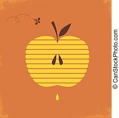 Rosh hashana greetng card with abstract apple  illustration