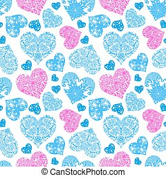 Bright openwork seamless pattern of blue and pink hearts...