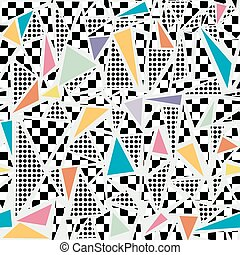 Retro memphis pattern background - Retro vintage 80s memphis...