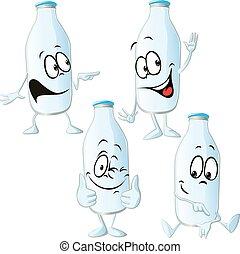 milk bottle - funny vector cartoon