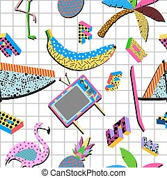 Retro 80s summer pattern background - Retro vintage 80s...