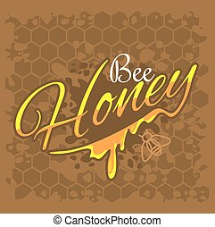 Honey and bee label for logo and emblem