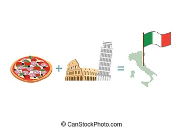 Pizza and Italian characters attractions. Map and flag of Italy