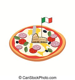 Italian pizza. Cheese in form of a silhouette map of Italy...