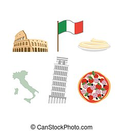 Set icons symbols of Italy. Flag an