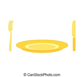 Gold cutlery: knife and fork, for rich. Expensive plate of pure gold.