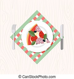 Top view of a slice of pizza on a plate Cutlery: knife and...