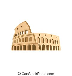 Colosseum in Rome on a white background Italy Landmark...