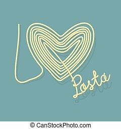 io, Amore, pasta., spaghetti, come, à, Simbolo, di,...