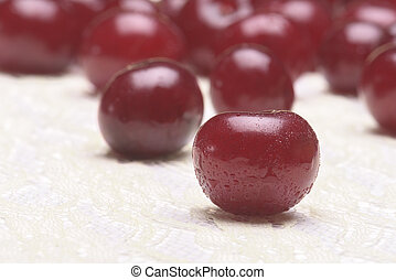 Sour cherry group selective focus - Sour cherry group on a...