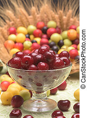 Sour cherry and cherry plums in a glass bowl