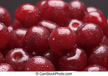 Sour cherry close-up with dewdrops