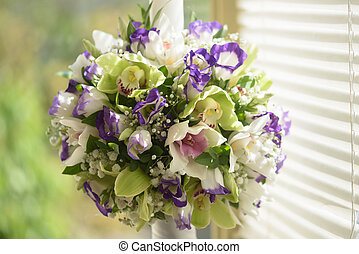 Bridal bouquet - Colorful bridal bouquet close-up natural...