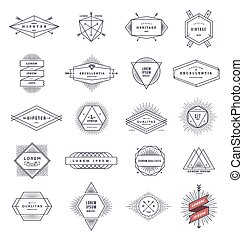 Set of hipster line emblems and signs with sunburst - vector...