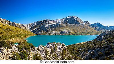 the artificial Cuber lake in the Sierra de Tramuntana -...