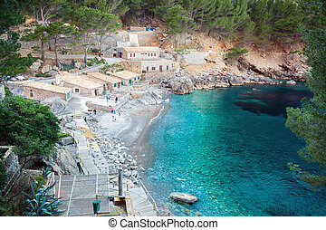 The bay of Sa Calobra, Majorca - tranquil view of the small...