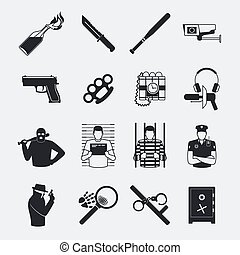 Criminal and prison icons - Criminal and prison black icons...