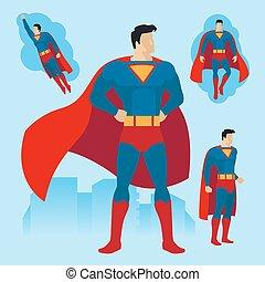 Superhero poses set - Superhero in different poses. Flying...