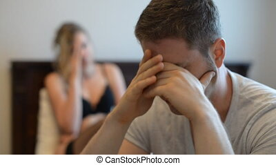 Upset young couple having problems. - Upset young couple...