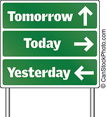 traffic signs - tomorrow today and yesterday