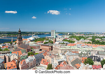 Riga - View at Riga from the tower of Saint Peters Church,...