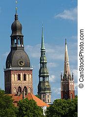 Riga - Three church towers in the picture are the Riga Dome...