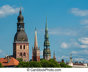 Riga - Towers of Riga seen in Riga. Three church towers in...