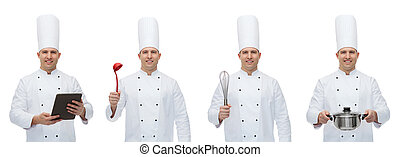 happy male chef cook set