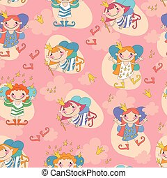 Seamless background vector illustration girls fairy on a...