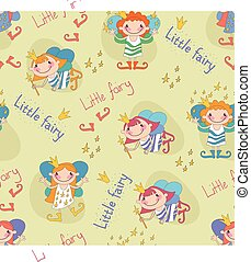 Vector illustration of fairies The little fairies Seamless...