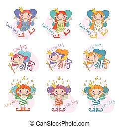 Vector set of funny girls fairies Fairy girls fairy Fairy...