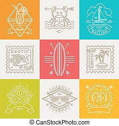 Summer holidays, vacation and travel emblems, signs and labels - Line drawing vector illustration