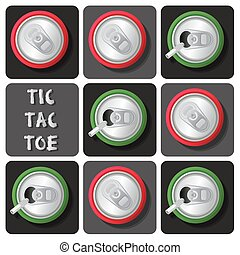 Tic-Tac-Toe of soda can or beer