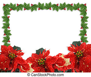 Christmas Holly and poinsettias border - Image and...
