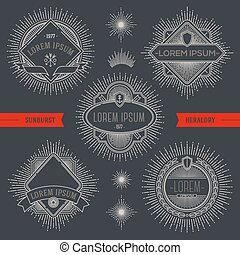 Set of line design emblems - Vector set of line design...