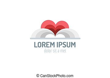 Book heart template logo icon. Back to school. Education,...