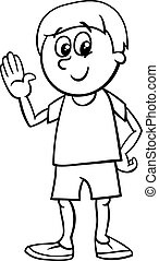 happy boy cartoon coloring page - Black and White Cartoon...