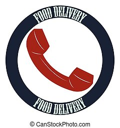 Food delivery - Isolated label with text and a phone. Food...