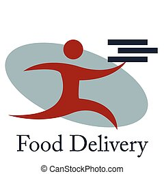 Food delivery - Isolated icon with text and a person with...