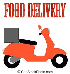 Food delivery - Isolated silhouette of a motorcycle with a...