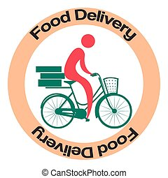 Food delivery - Isolated label with an icon of a person on a...