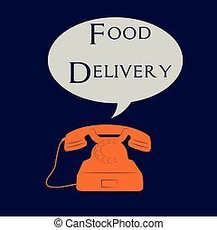 Food delivery - Isolated telephone with a bubble chat and...