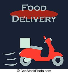 Food delivery - Isolated motorcycle with boxes. Food...
