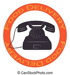 Food delivery - Isolated label with text and a phone Food...