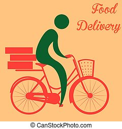 Food delivery - Isolated icon of a person and a bicycle Food...