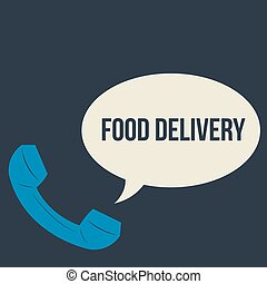 Food delivery - Isolated phone and a bubble chat with text...